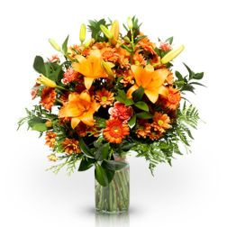 Perfect Sunrise: orange lilies and carnations